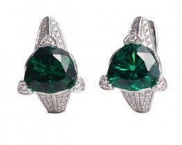 Srebrni uhani LOVE BEAM s smaragdi in cirkoni