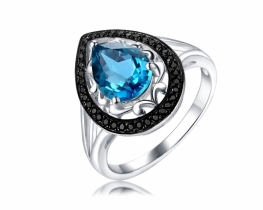 Prstan Love Blue - modri topaz in spineli