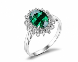 Srebrn prstan LOVE BEAM s smaragdom in cirkoni