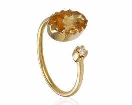 Zlat prstan HELIODOR z diamantom