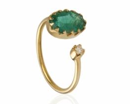 Zlat prstan SMARAGD z diamantom