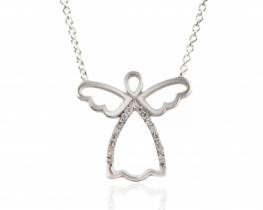 Srebrna verižica ANGEL s cirkoni