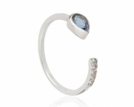 Prstan modri SAFIR z diamanti