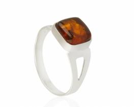Srebrn prstan ALEA s češnjevim jantarjem