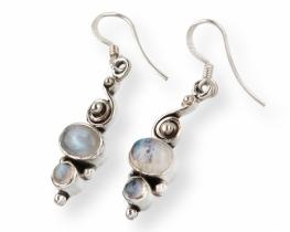 Srebrni uhani INFINITY - mesečev kamen in roževec