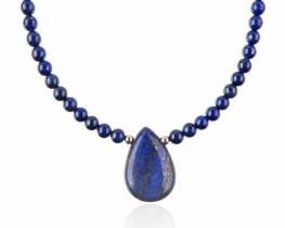 Ogrlica lapis lazuli z obeskom 24 x 30 mm