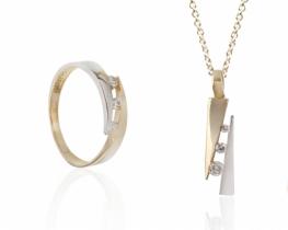 Zlat komplet PROMENADA - obesek in prstan