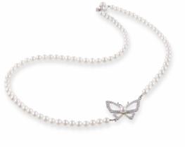 Biserna ogrlica srebrni METULJ