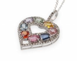 Diamantno srce z barvnimi safirji