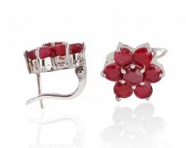 Srebrni uhani LORA z rubini