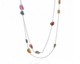 Srebrna ogrlica z barvnimi turmalini 90 cm