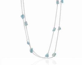 Srebrna ogrlica Akvamarin 90 cm