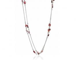 Srebrna ogrlica z granati 90 cm