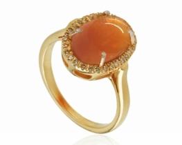 Srebrn prstan FUEGO - ognjeni opal z diamanti
