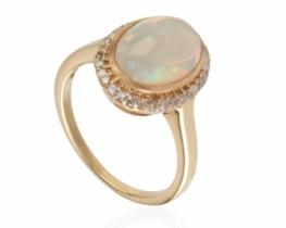 Zlat prstan RAJSKA VRATA z opalom in diamanti
