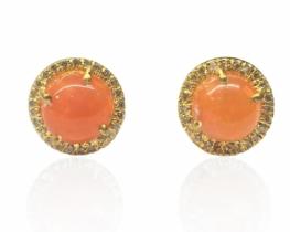 Srebrni uhani FUEGO ognjeni opal z diamanti