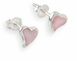 Srebrni uhani Love Heart PINK