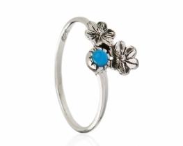 Srebrn prstan turkizni cvet