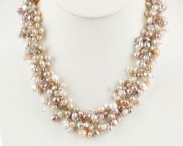 Biserna ogrlica METEOR - beli in pisani biseri