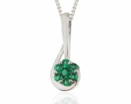 Srebrni obesek Love Beam s smaragdi