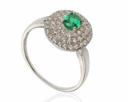 Prstan Love Beam Glamour - smaragd s cirkoni