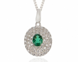 Obesek Love Beam Glamour - smaragd in cirkoni