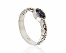Srebrn prstan Kašmir IOLIT & Mesečev kamen