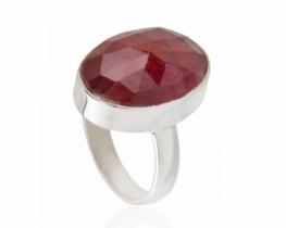 Srebrn prstan z rubinom SONGETA