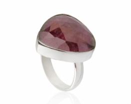 Srebrn prstan z rubinom - Trillion
