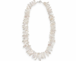 Biserna ogrlica SNEŽINKA iz Biwa biserov