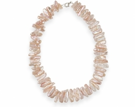 Biserna ogrlica z roza Biwa biseri