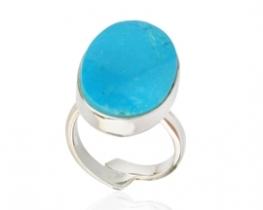 Srebrn prstan turkiz BLUE BIRD 15 x 20 mm
