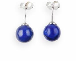 Srebrni uhani lapis lazuli 8 in 10 mm