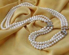 Biserna ogrlica in zapestnica Miramar 6 mm - komplet