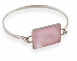 Srebrna zapestnica BISERNA MATICA v roza barvi