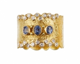 Prstan MAGMA - modri safir in diamanti