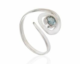 Srebrn prstan SPIRALA - topaz in ametist
