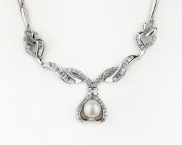 Srebrna ogrlica z biserom VALERIE