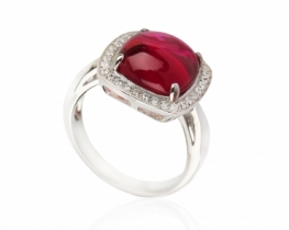 Srebrn prstan LOVE SMILE Ruby