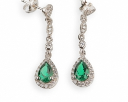 Uhani LOVE BEAM smaragdi/rubini