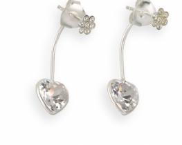 Srebrni uhani LOVE HEART - Srce in cvet s cirkoni