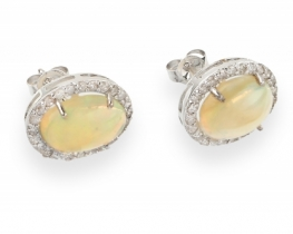Zlati uhani mavrični OPAL z diamanti
