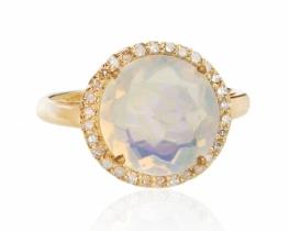Prstan ZLATE SANJE - OPAL z diamanti
