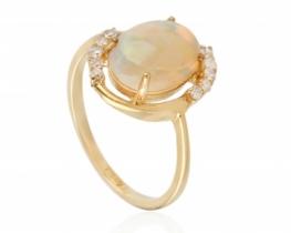 Zlat prstan Allegro OPAL z diamanti