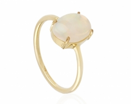 Zlat prstan mavrični opal 7 x 10 mm