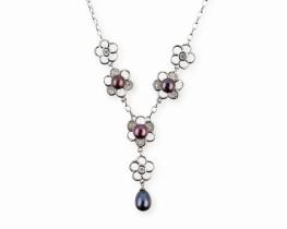 Srebrna ogrlica z biseri DAISY