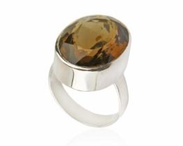 Srebrn prstan KRISTAL - dimni topaz