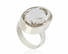 Srebrn prstan KRISTAL kamena strela