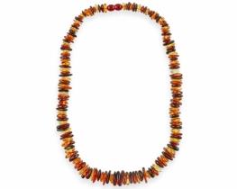 Ogrlica večbarvni jantar 5 x 15 mm - 50 cm