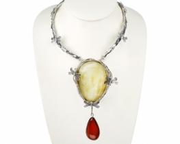 Srebrna ogrlica z jantarjem DRAGON FLY